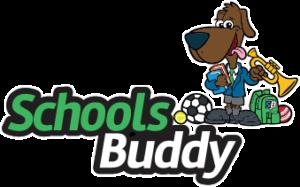 Schools buddy: cute dog playing trumpet