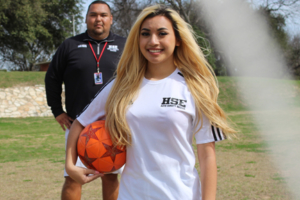 A girl in soccer field